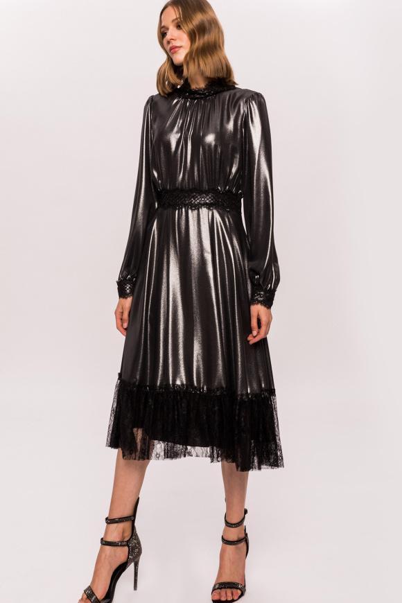 Silver lace details dress