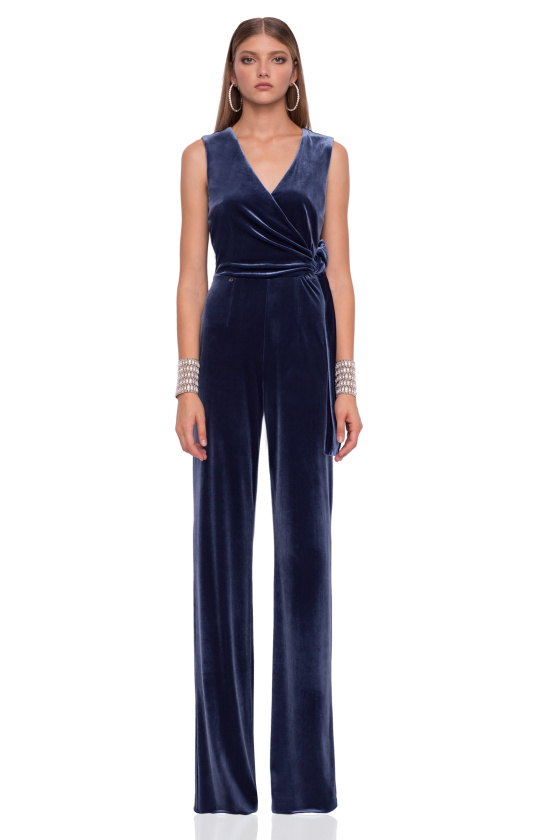 Velvet jumpsuit with waistband