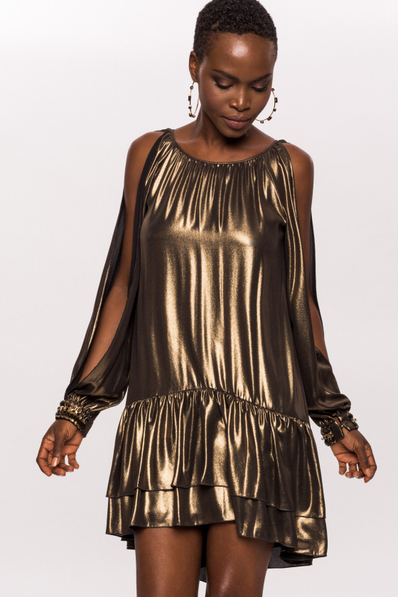 Cut sleeve metallic dress