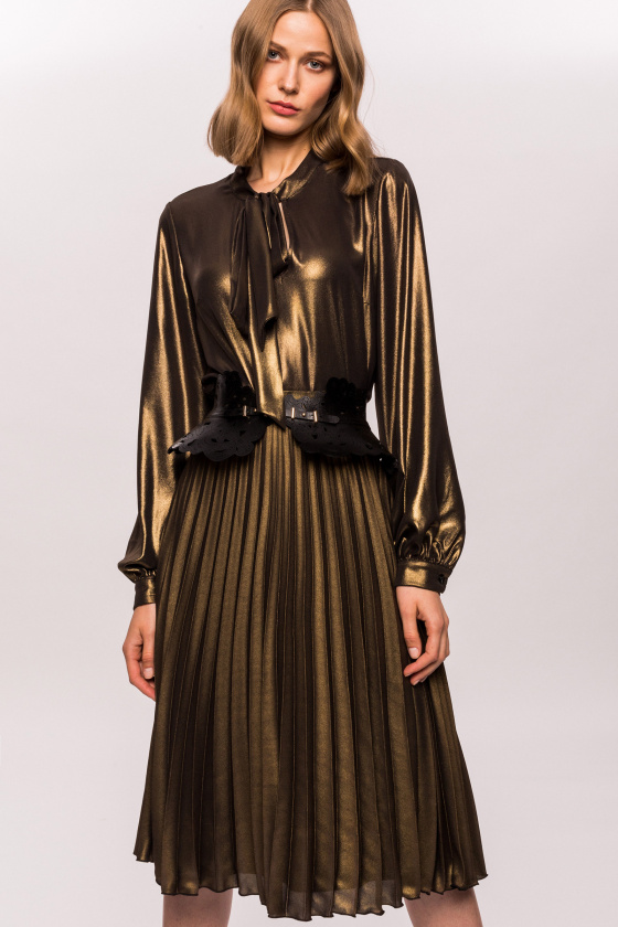 Metallic golden pleated skirt