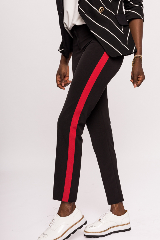 Slim pants with red side stripe