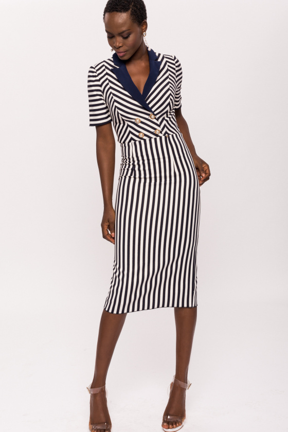 Navy stripe dress with contrast lapel