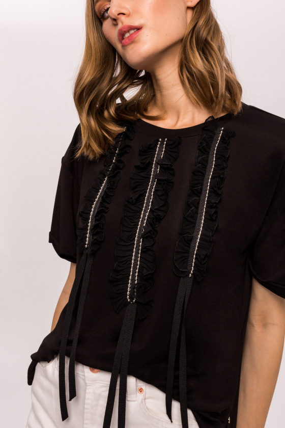 Viscose top with metallic detailed bust