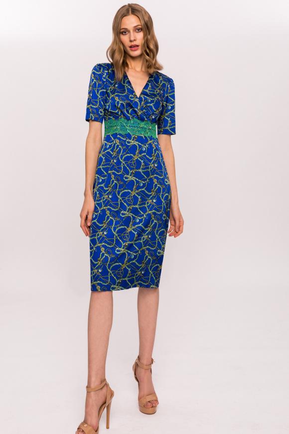 Printed lace waistband dress