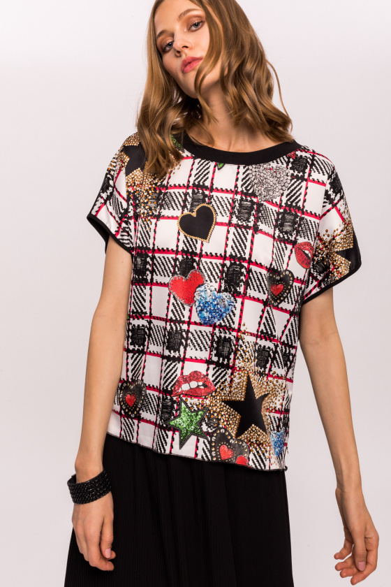 Pop art printed viscose top