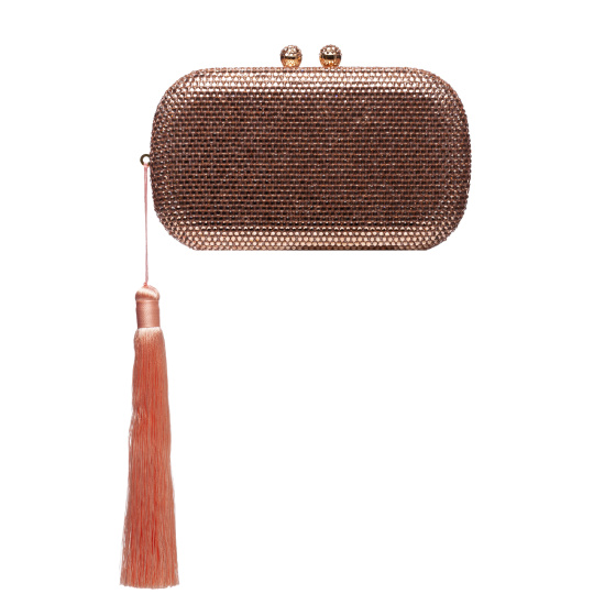 Shiny clutch with tassels