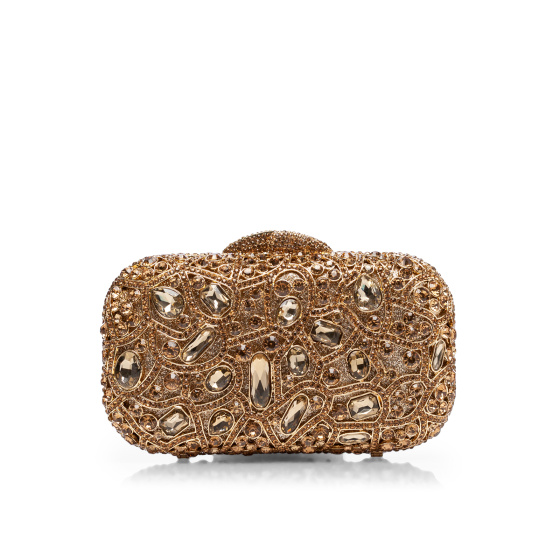 Jewelry embellished clutch