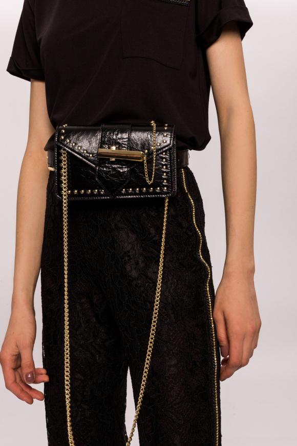 Studded leather belt bag