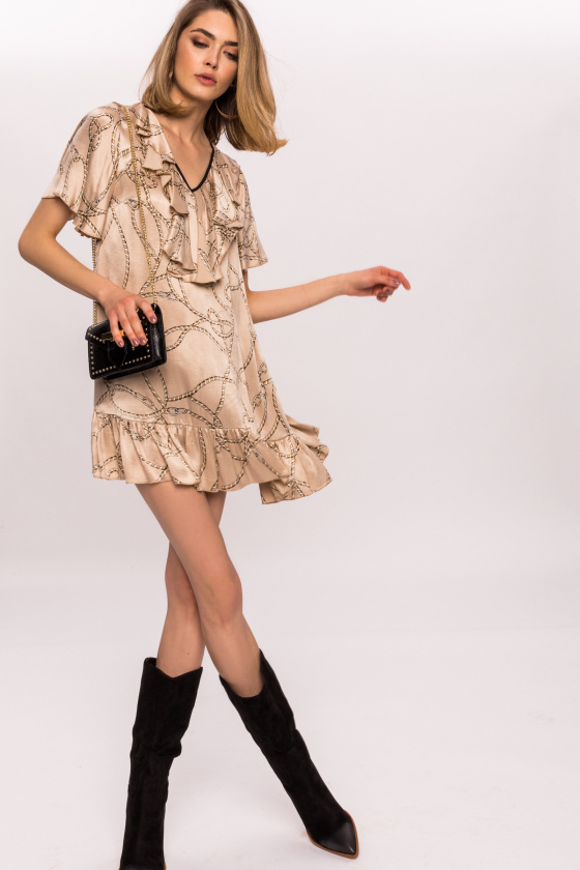 Printed satin dress with ruffles