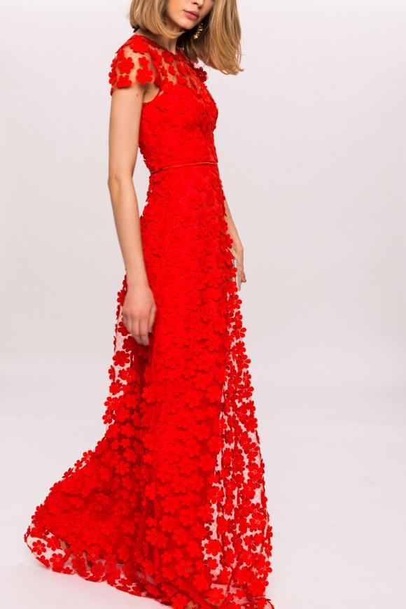3D floral lace dress