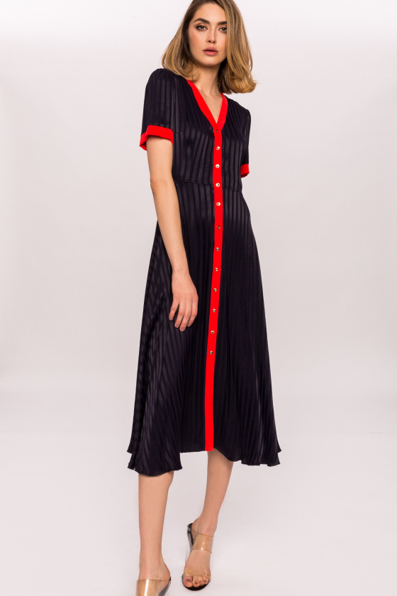 Viscose dress with gold buttons