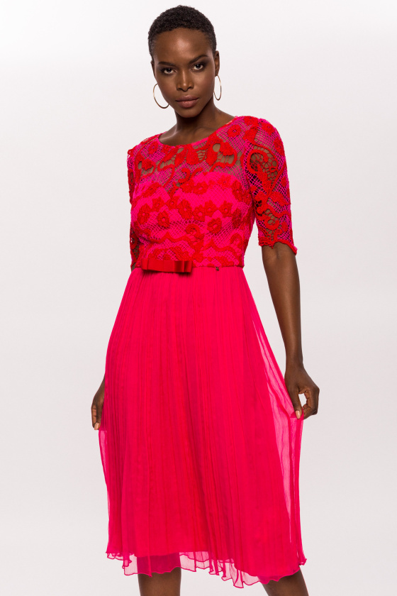 Lace sleeve dress with pleated skirt