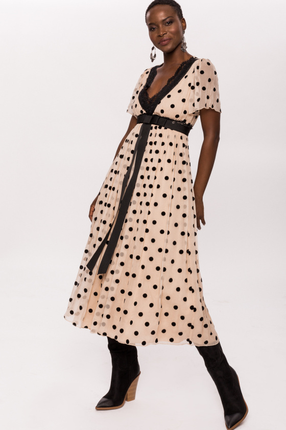 Silk and lace v-neck polka dots dress