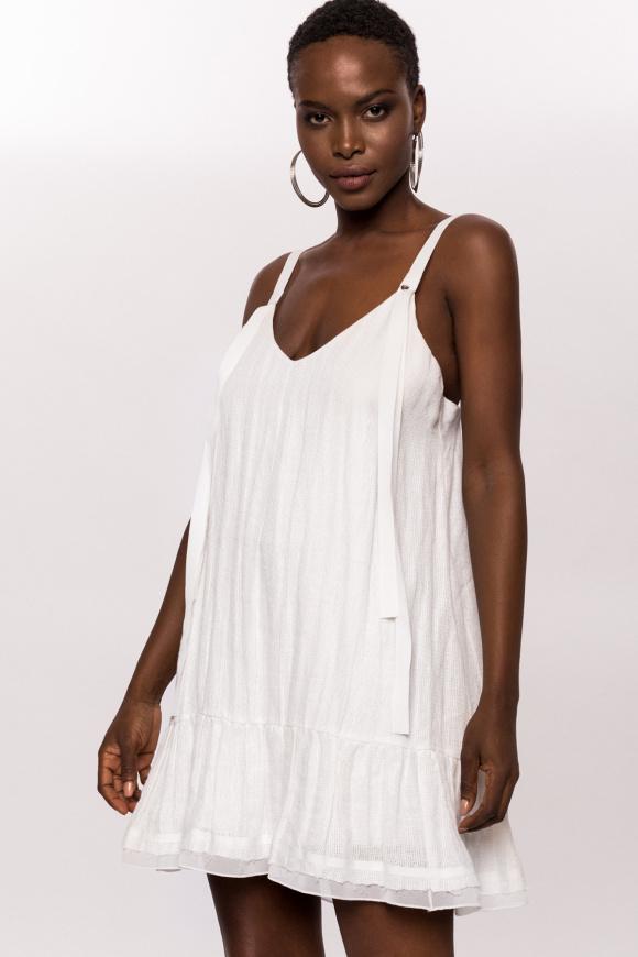 Linen dress with deep back-cut