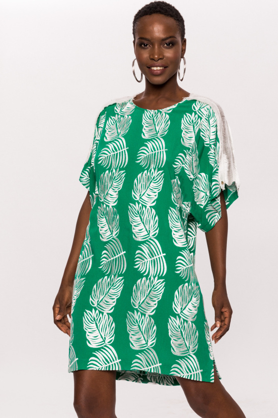 Short viscose dress with fringed shoulder detail