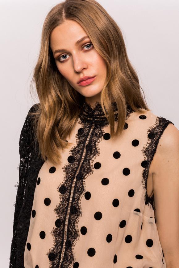 Silk polka dots and lace top