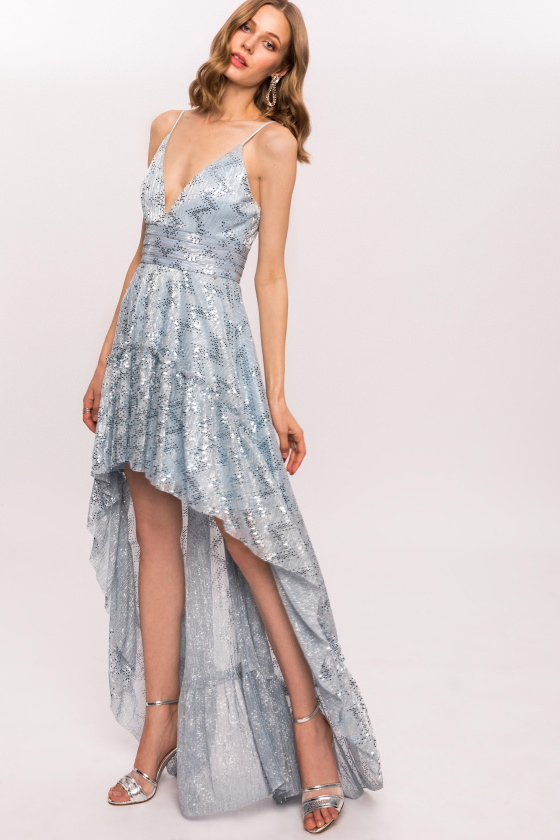 Shiny asymmetrical dress with sequins