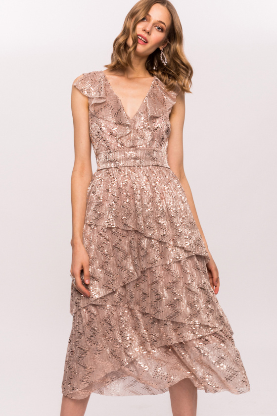 Shiny dress with layered skirt and neckline ruffle