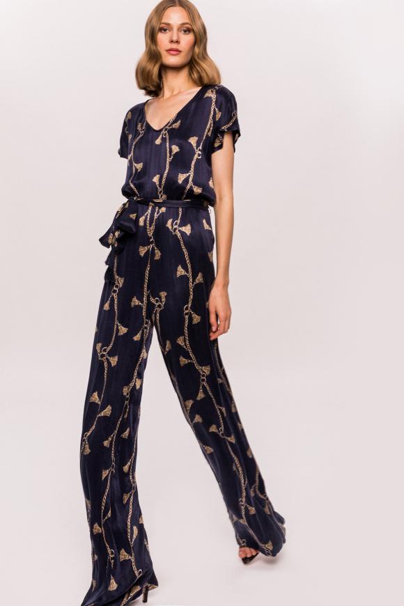 Printed tassel jumpsuit