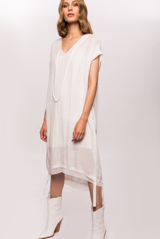 Linen dress with side strips