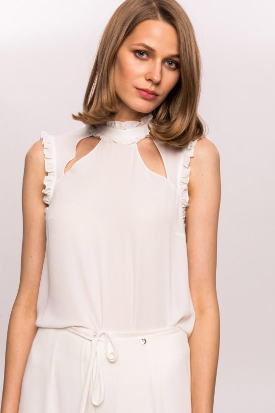 Ruffles and keyhole neckline top