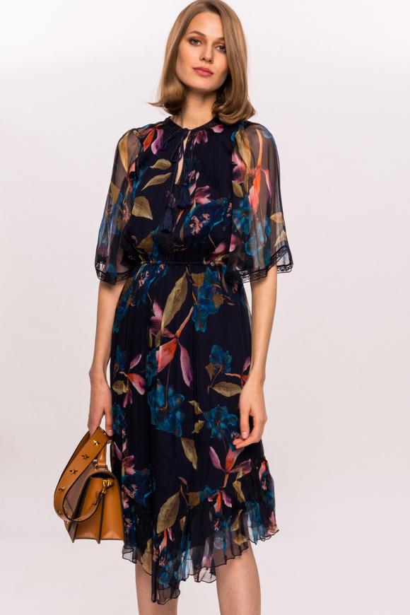 Silk floral print dress with tassels