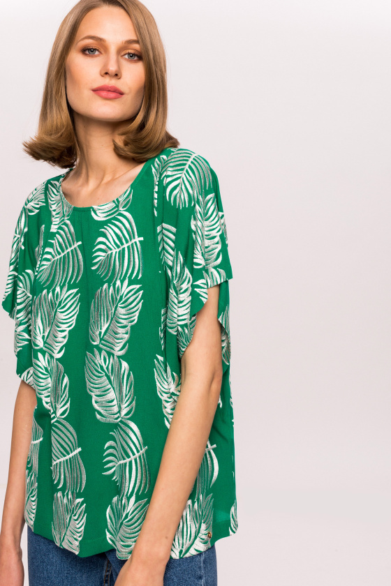 Viscose leaves print top
