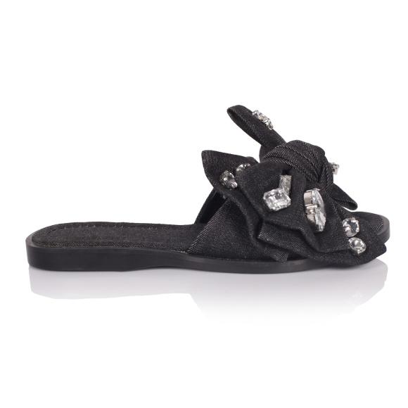 Papuci din denim cu funda si pietre aplicate