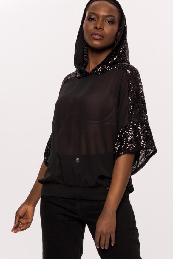 Sequins hood veil top
