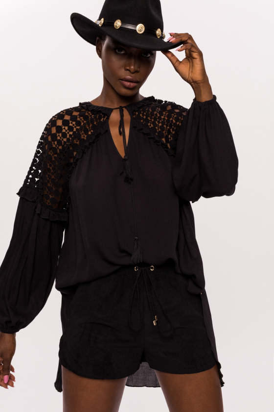 Viscose top with embroidered shoulders and tassel