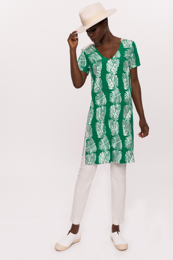 Viscose long top with leaves print