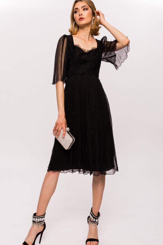 Chantilly lace silk dress
