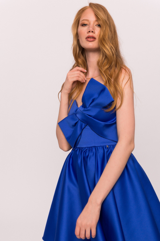 Tulle insert satin dress
