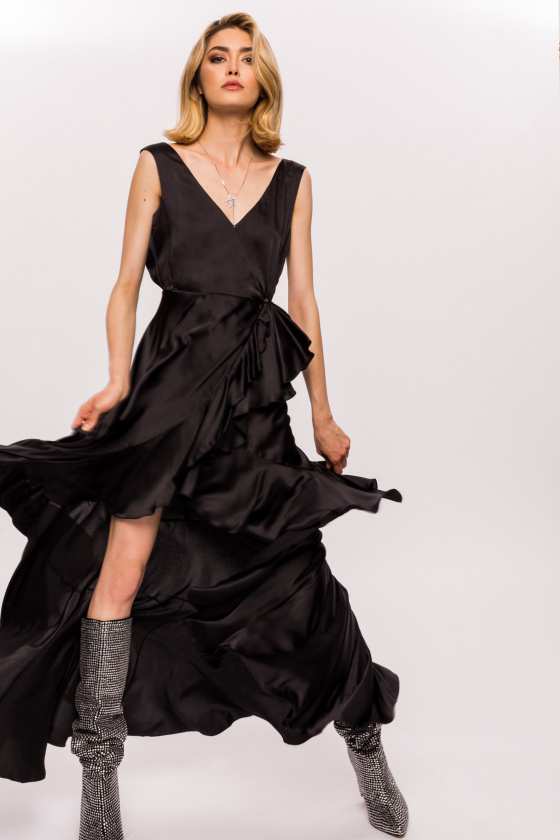 Ruffled asymmetrical dress