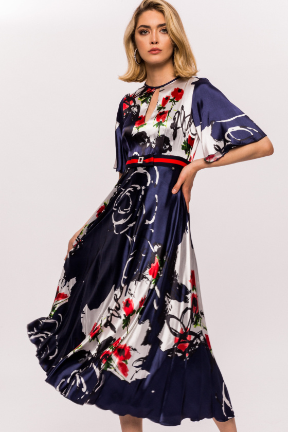 Silk keyhole floral print dress