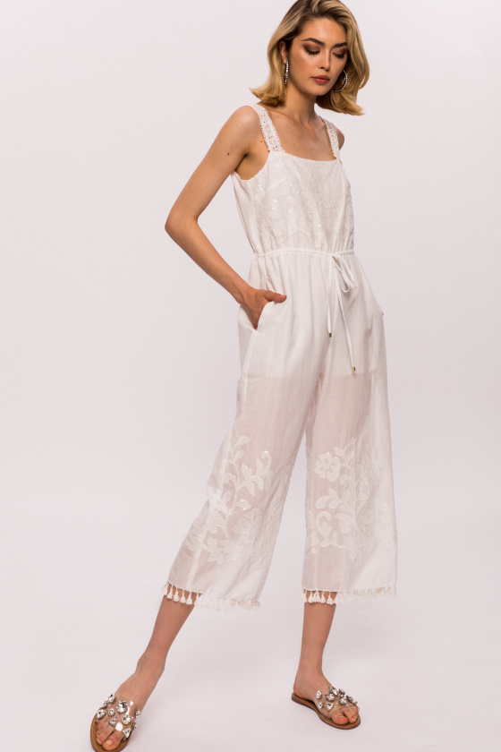 Cotton floral embroidery tassels and sequins jumpsuit