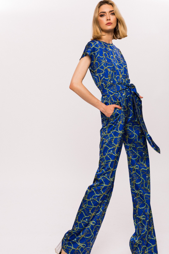 Printed satin jumpsuit with waistband