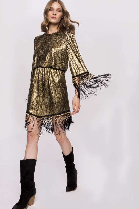 Golden pleated veil dress