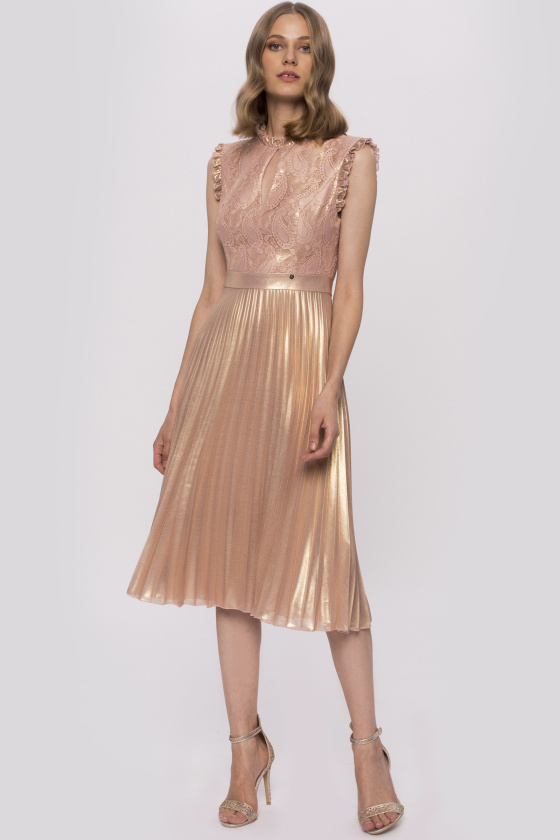 Metallic fabric and lace embroidery dress