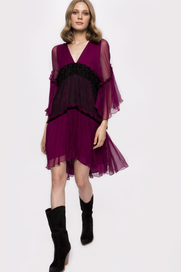 Transparent sleeves silk dress