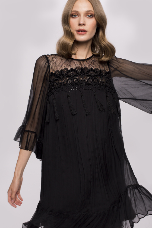 Fringed lace insert silk dress