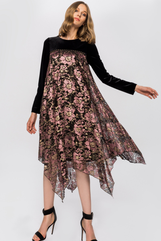 Chest detail asymmetrical floral print dress