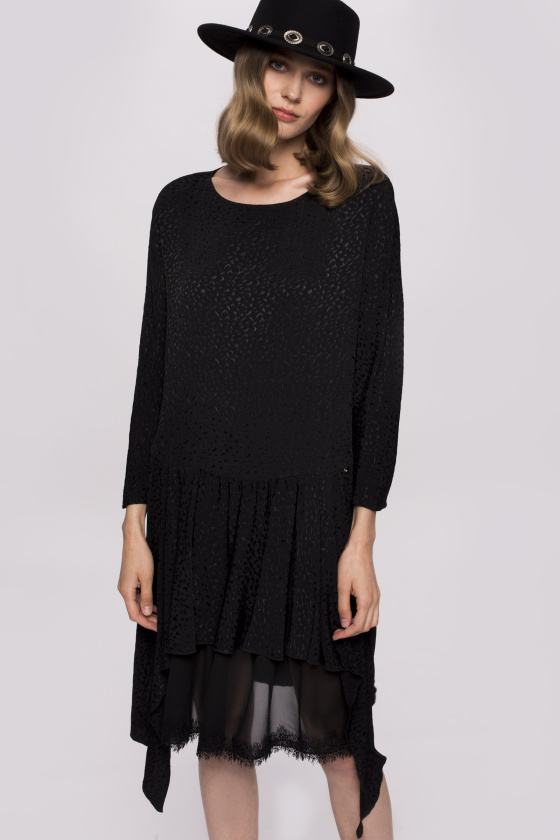 Lace insert asymmetrical dress