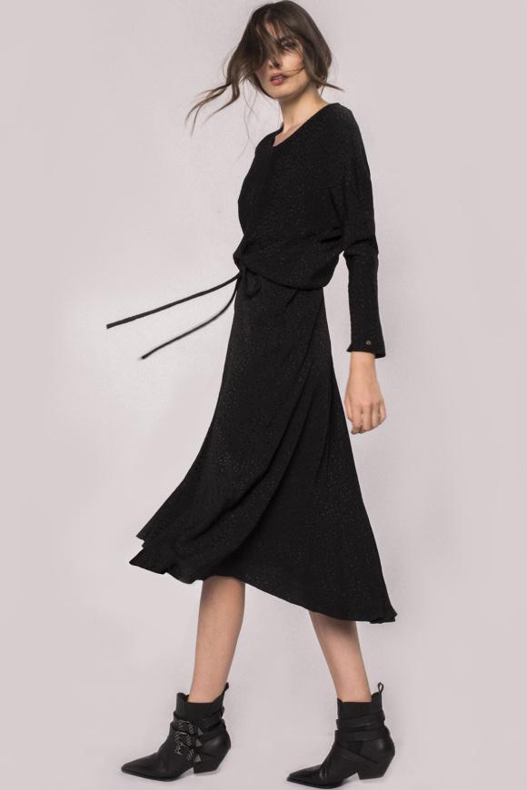 Rochie din vascoza cu print si cordon in talie