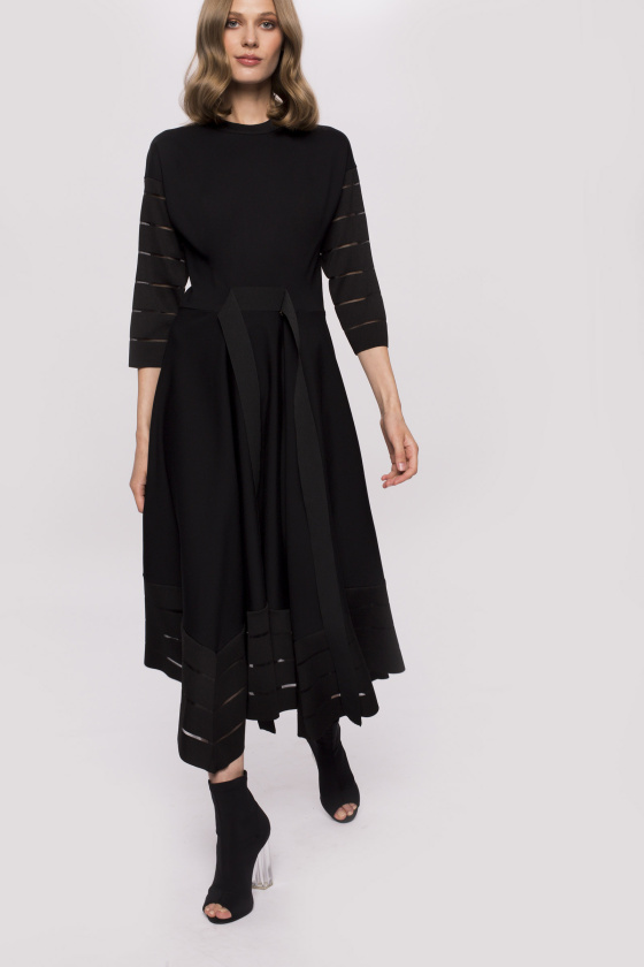 Waistband asymmetrical midi dress