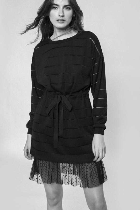 Lace insert H-shape dress