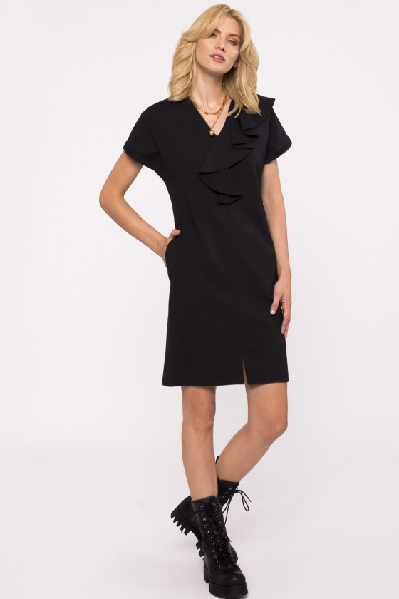 Mini dress with chest ruffle and pockets