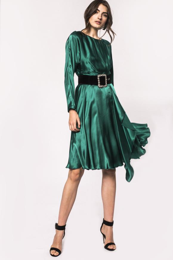 Side ruffle viscose dress