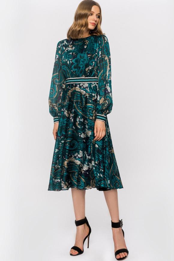 Rochie cu print si detaliu tip curea in talie
