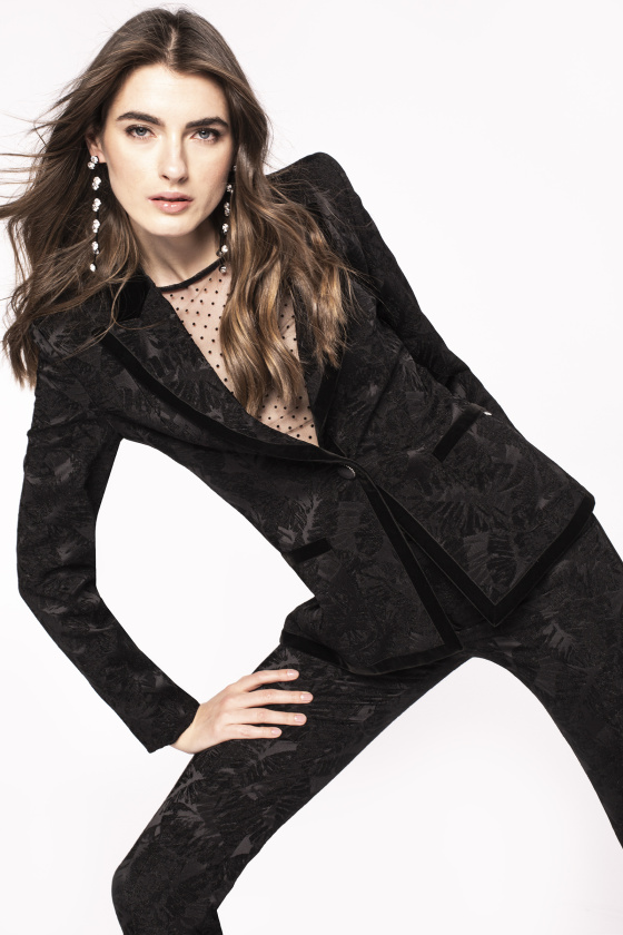 Velvet lapel brocade jacket